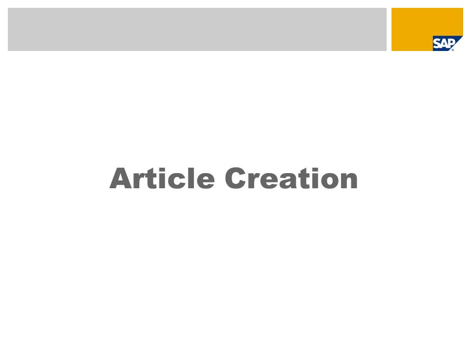 Article Creation