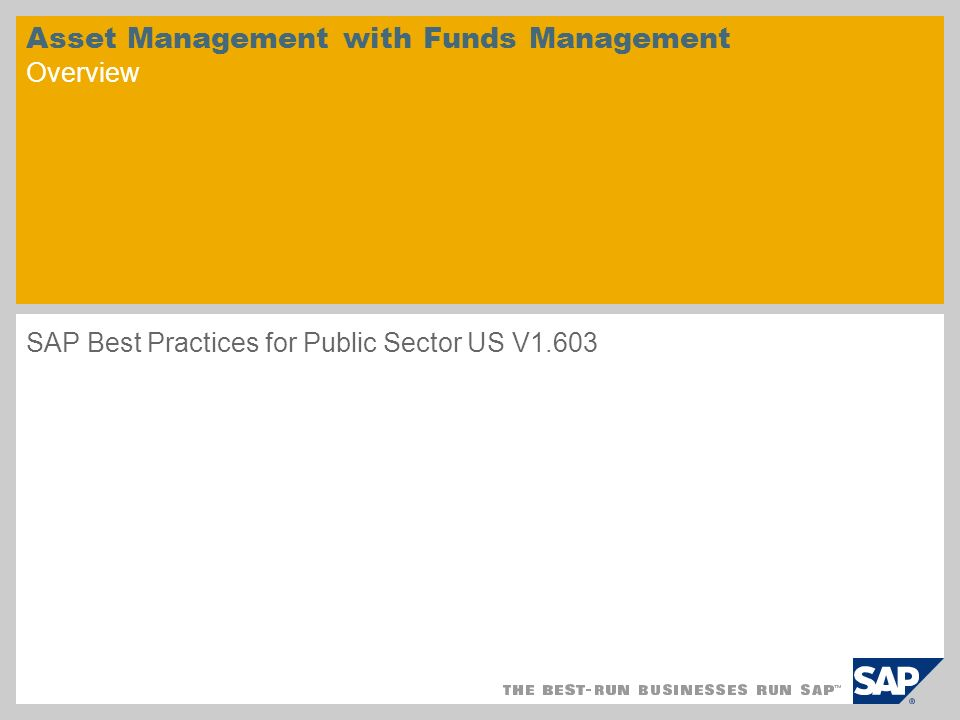 Asset Management with Funds Management Overview