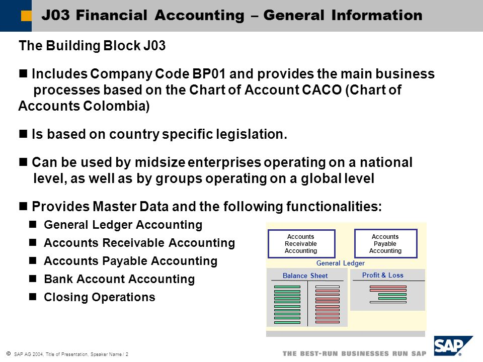 J03 Financial Accounting – General Information