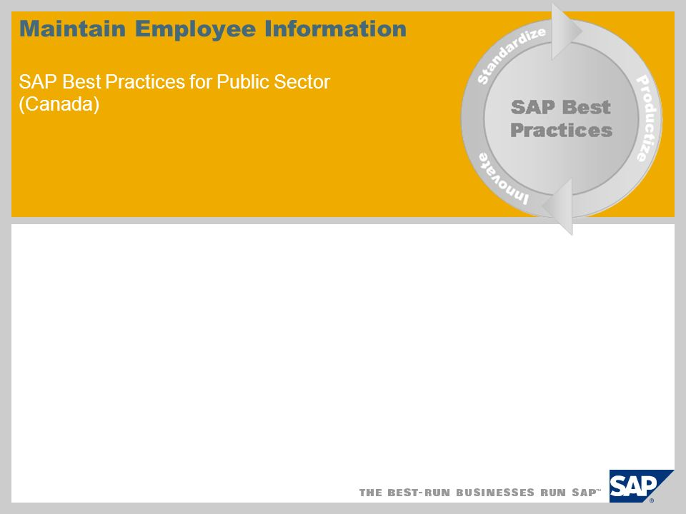 Maintain Employee Information SAP Best Practices for Public Sector (Canada)