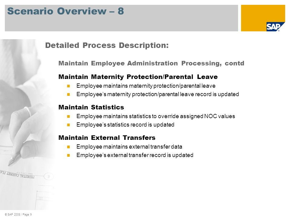 Scenario Overview – 8 Detailed Process Description: