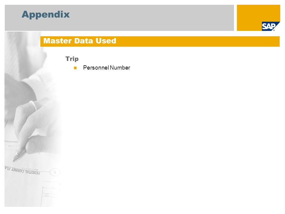 Appendix Master Data Used Trip Personnel Number