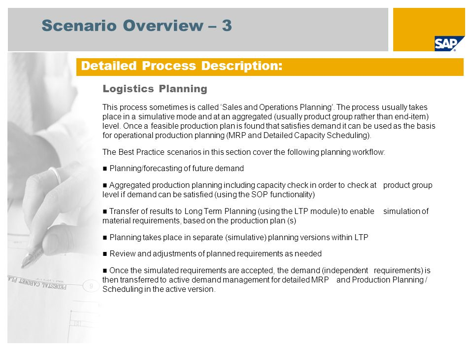 Scenario Overview – 3 Detailed Process Description: Logistics Planning