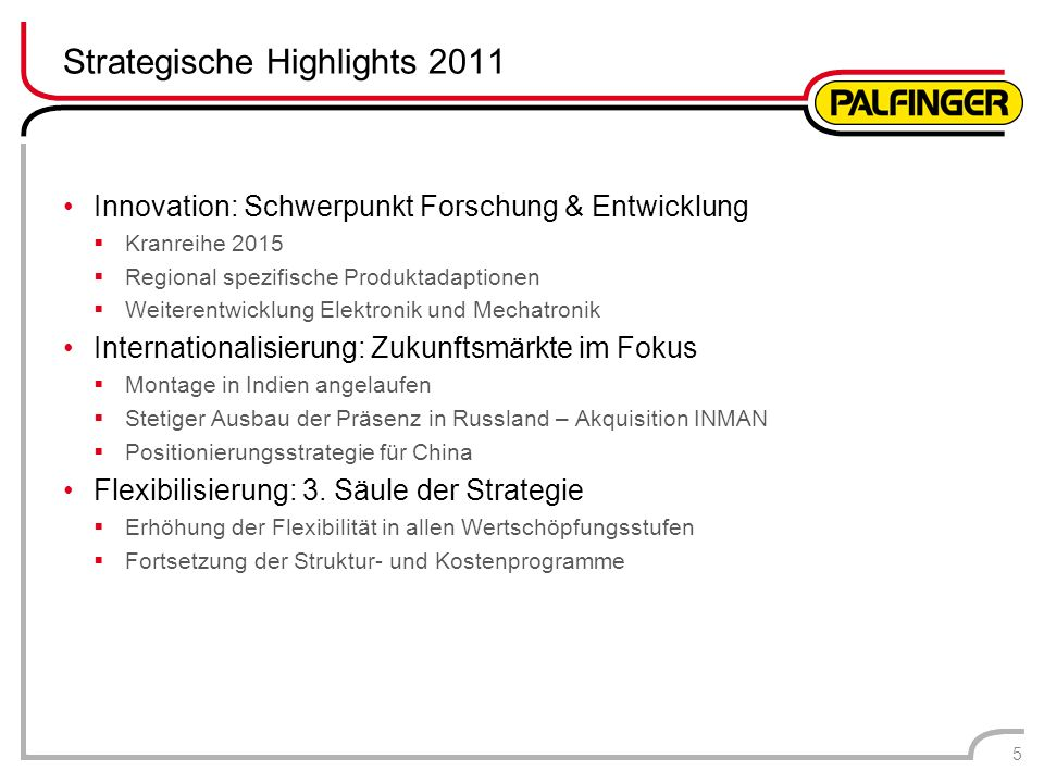 Strategische Highlights 2011
