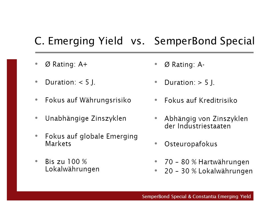 C. Emerging Yield vs. SemperBond Special