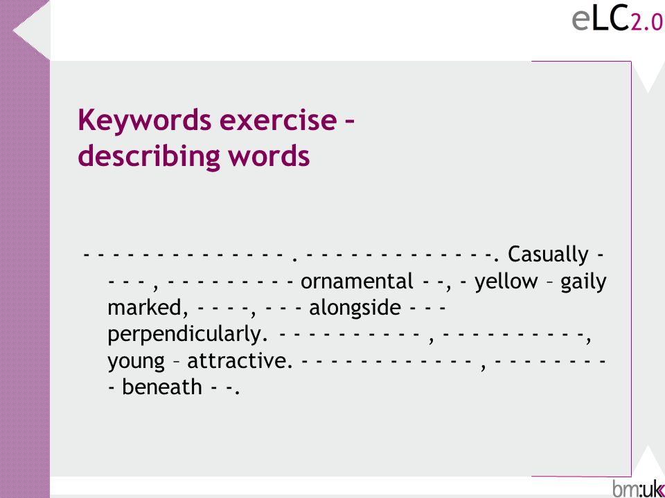 Keywords exercise – describing words