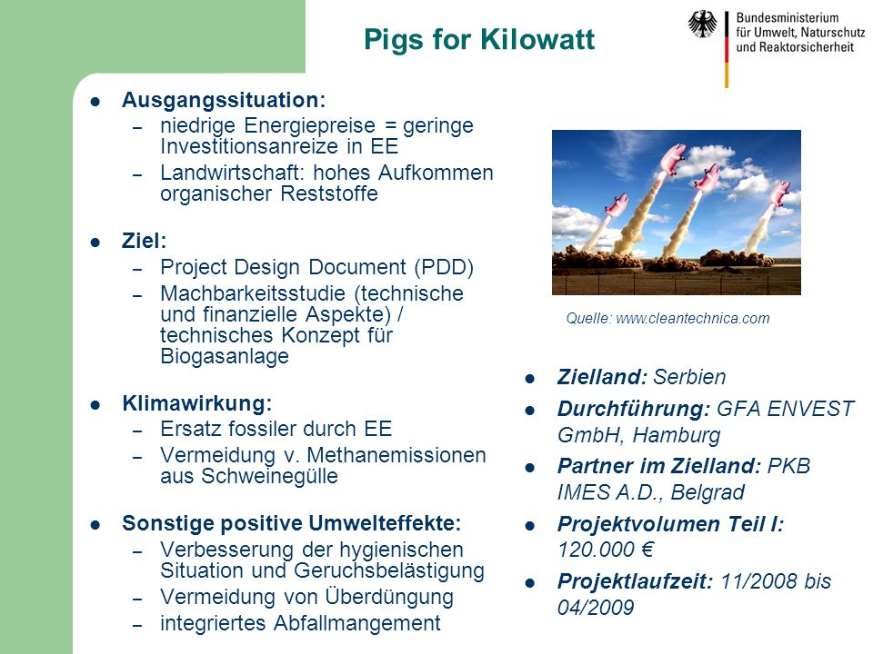 Pigs for Kilowatt Ausgangssituation: