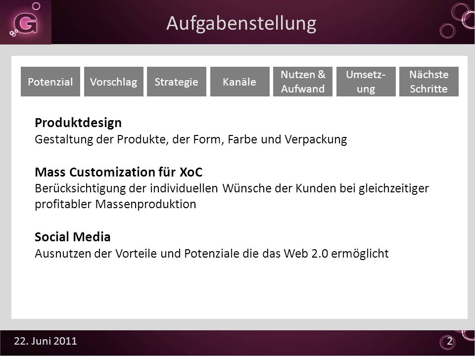 Aufgabenstellung Produktdesign Mass Customization für XoC Social Media
