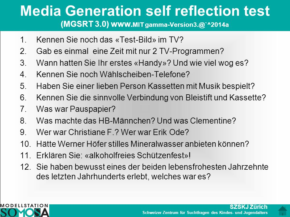 Media Generation self reflection test (MGSRT 3. 0) www