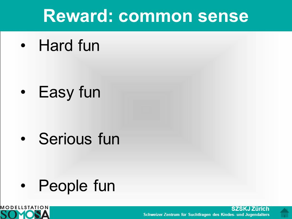 Reward: common sense Hard fun Easy fun Serious fun People fun
