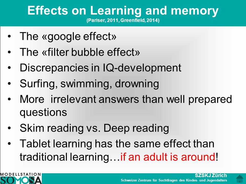 Effects on Learning and memory (Pariser, 2011, Greenfield, 2014)