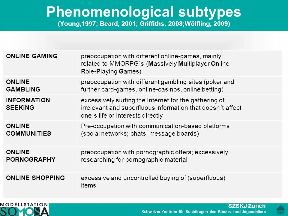 Phenomenological subtypes (Young,1997; Beard, 2001; Griffiths, 2008;Wölfling, 2009)