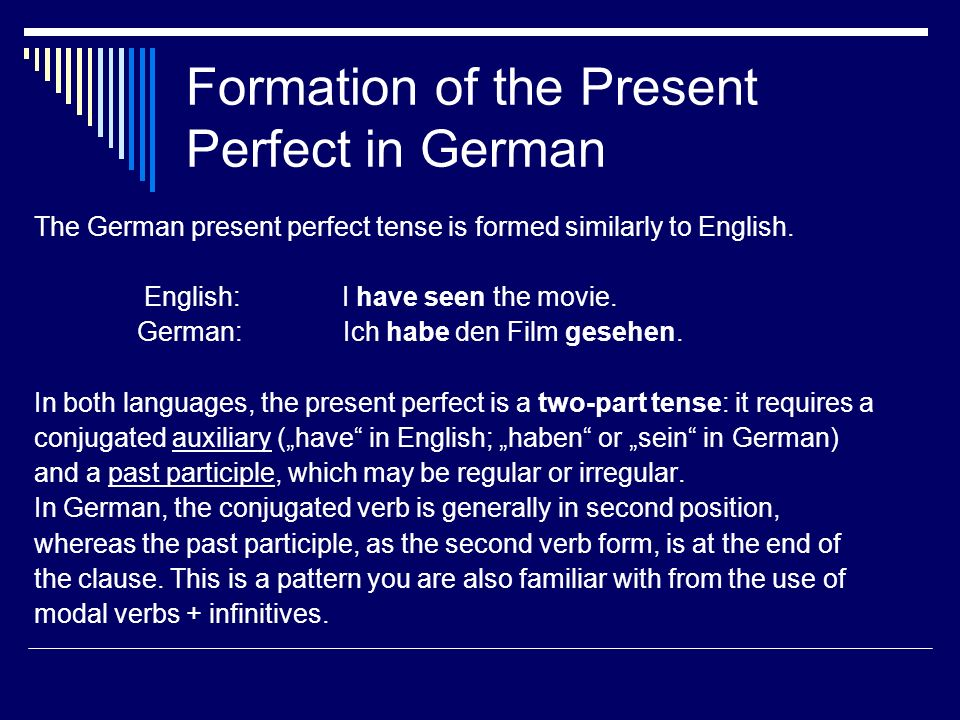 Formation of the Present Perfect in German