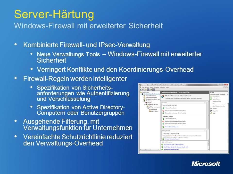 Server-Härtung Windows-Firewall mit erweiterter Sicherheit