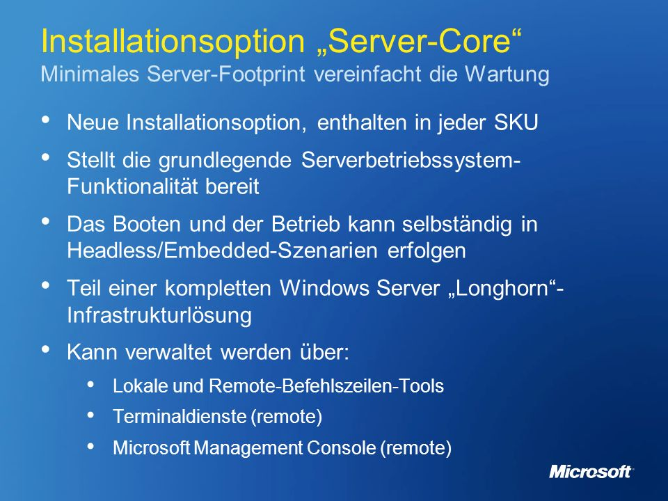 "Installationsoption ""Server-Core Minimales Server-Footprint vereinfacht die Wartung"