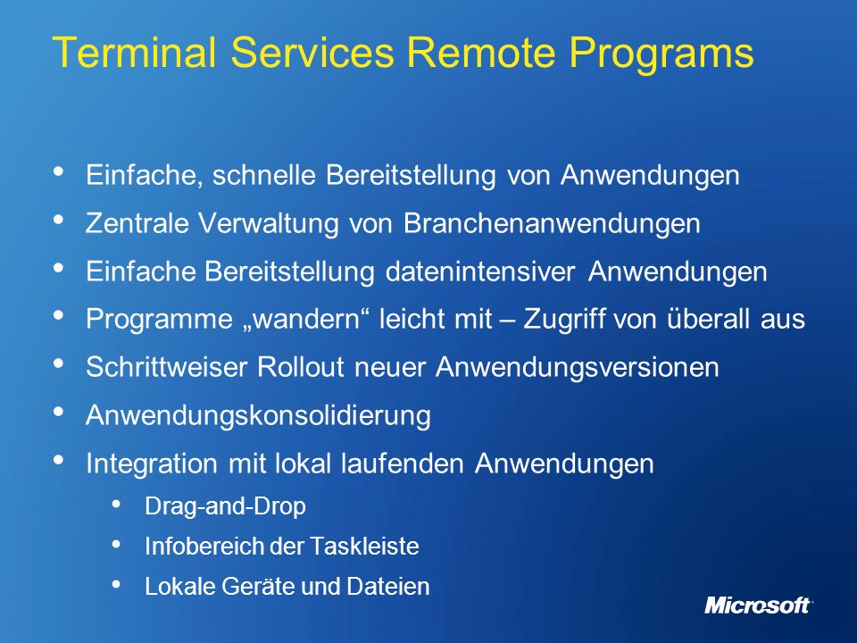 Terminal Services Remote Programs