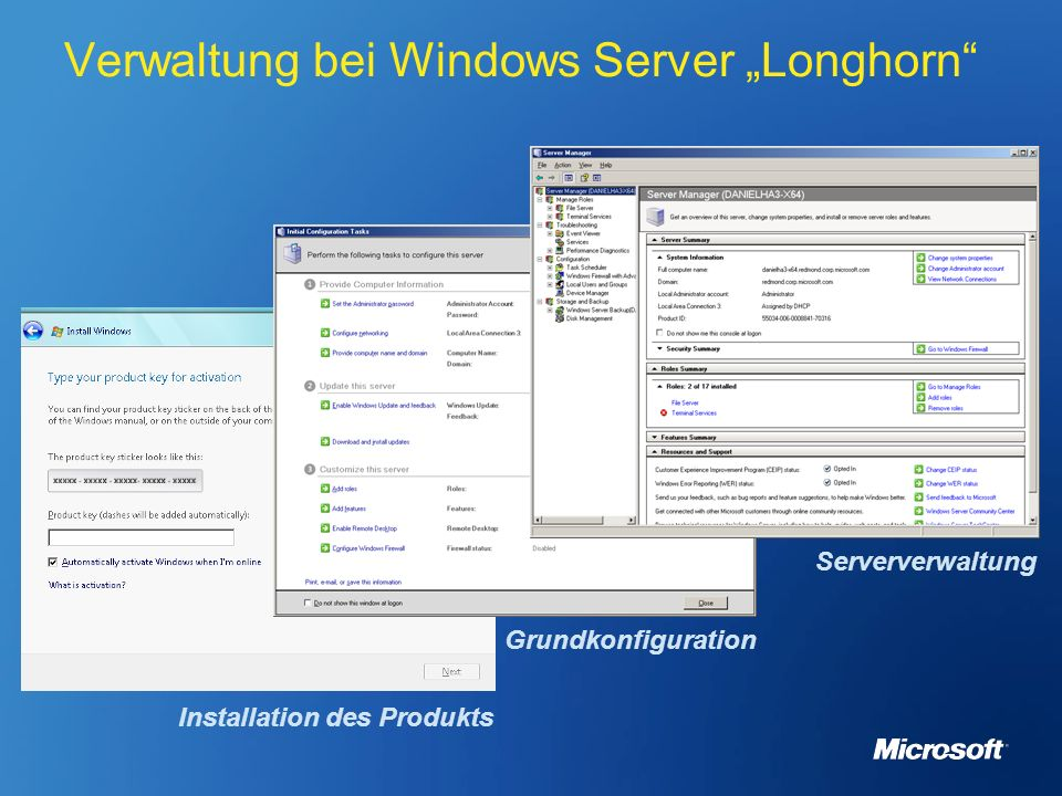 "Verwaltung bei Windows Server ""Longhorn"