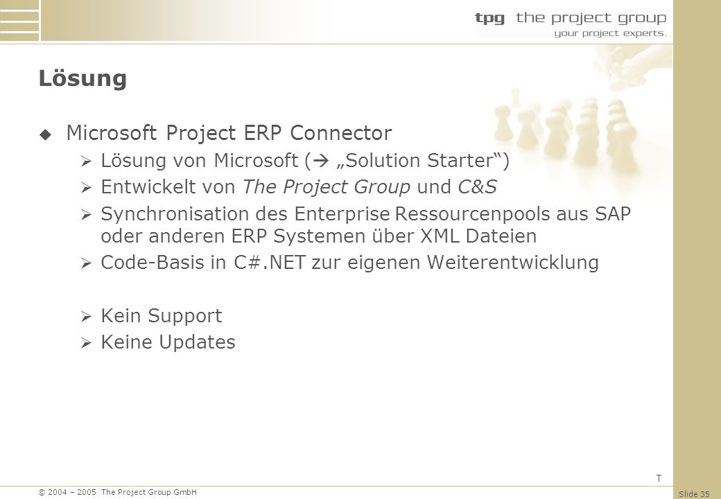 Lösung Microsoft Project ERP Connector