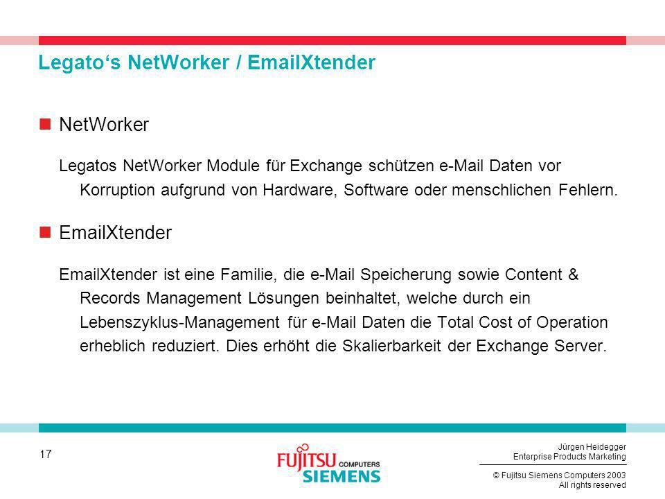 Legato's NetWorker / EmailXtender
