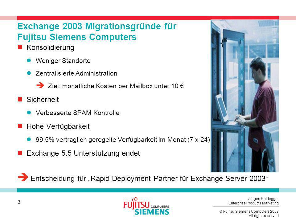 Exchange 2003 Migrationsgründe für Fujitsu Siemens Computers