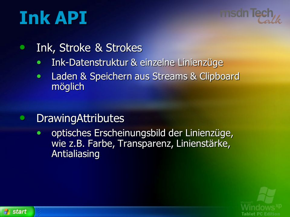 Ink API Ink, Stroke & Strokes DrawingAttributes
