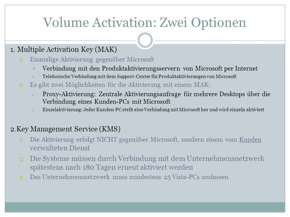 Volume Activation: Zwei Optionen