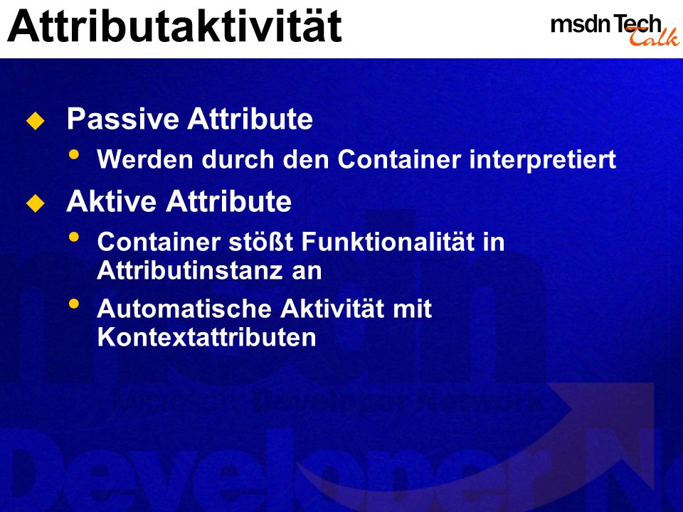 Attributaktivität Passive Attribute Aktive Attribute