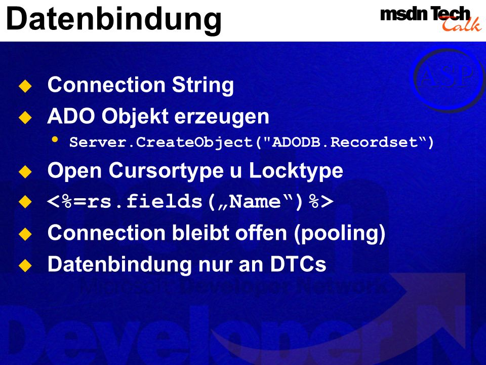 Datenbindung Connection String ADO Objekt erzeugen