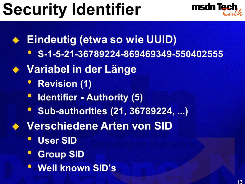 MSDN TechTalk – Januar 2001 COM(+) Security 13
