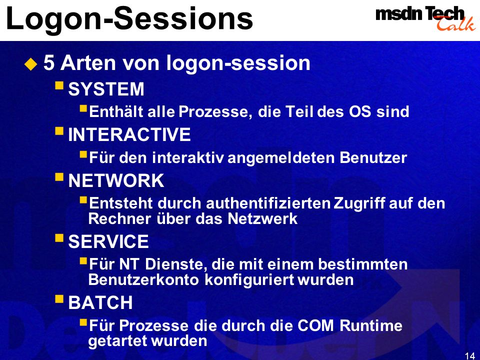 MSDN TechTalk – Januar 2001 COM(+) Security 14