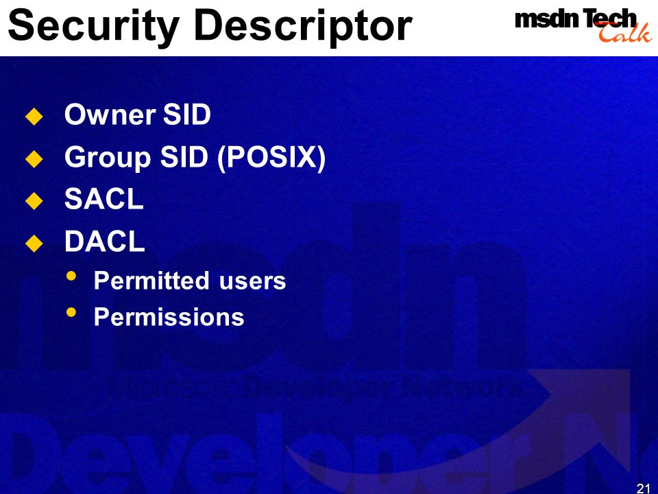 MSDN TechTalk – Januar 2001 COM(+) Security 21