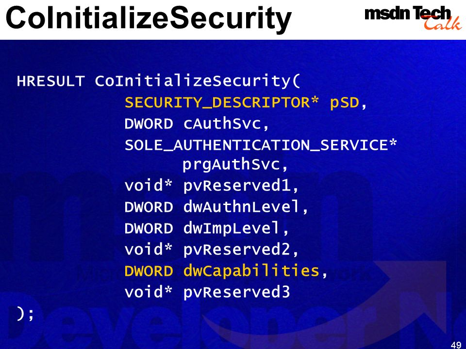 CoInitializeSecurity
