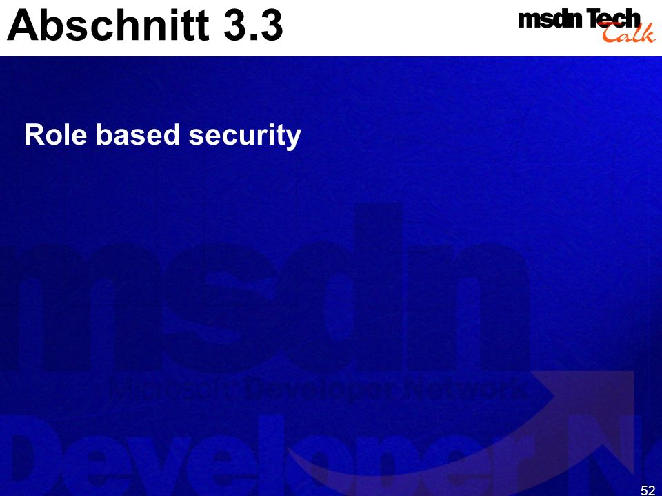 Abschnitt 3.3 Role based security
