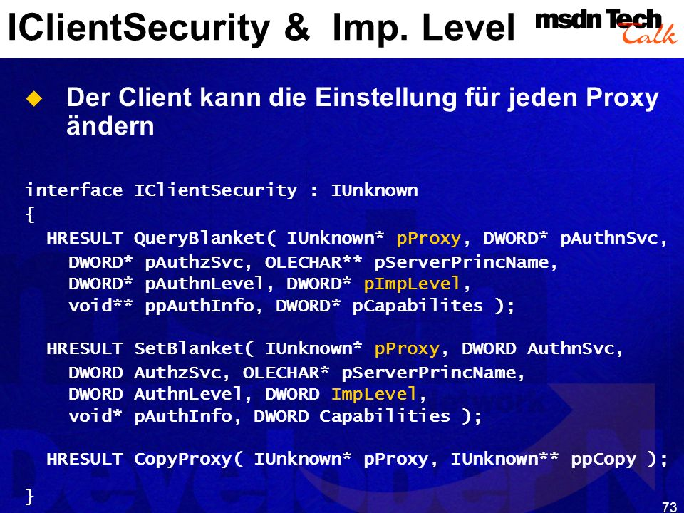 IClientSecurity & Imp. Level
