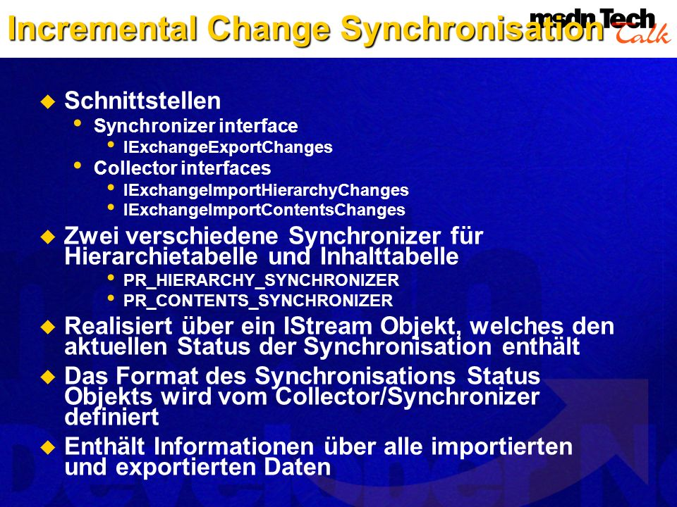 Incremental Change Synchronisation