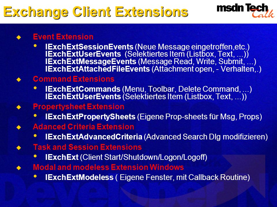 Exchange Client Extensions