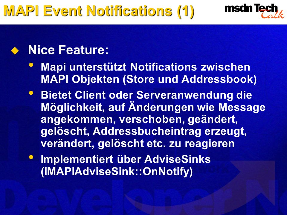 MAPI Event Notifications (1)
