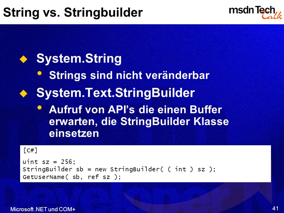 String vs. Stringbuilder