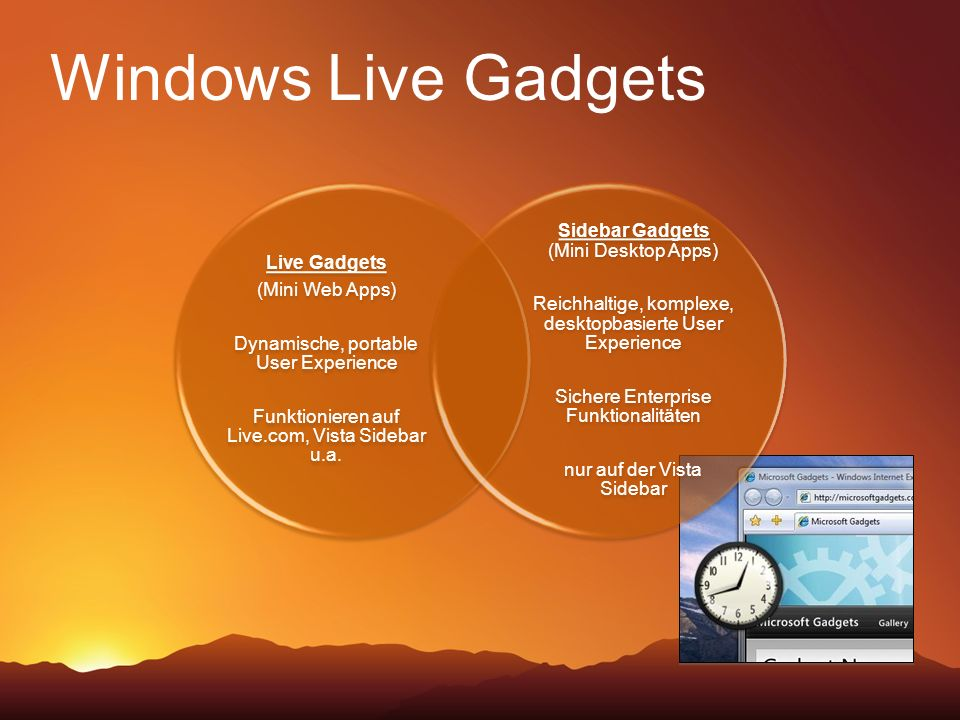 Windows Live Gadgets Sidebar Gadgets (Mini Desktop Apps) Live Gadgets
