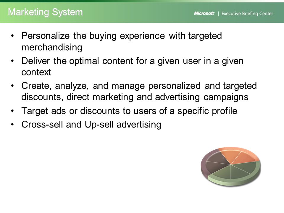 Marketing System Personalize the buying experience with targeted merchandising. Deliver the optimal content for a given user in a given context.