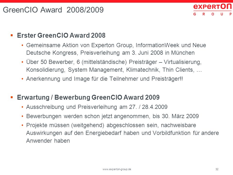 GreenCIO Award 2008/2009 Erster GreenCIO Award 2008
