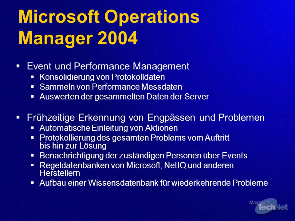 Microsoft Operations Manager 2004