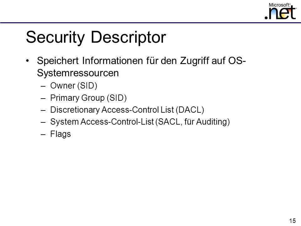 Security Descriptor Speichert Informationen für den Zugriff auf OS-Systemressourcen. Owner (SID) Primary Group (SID)