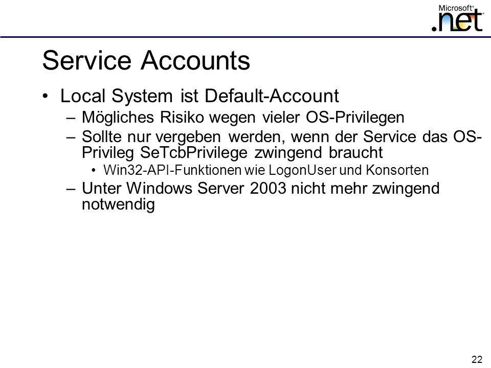 Service Accounts Local System ist Default-Account