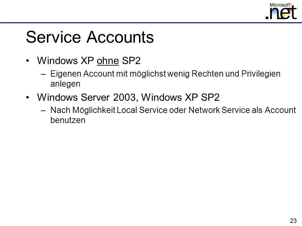 Service Accounts Windows XP ohne SP2