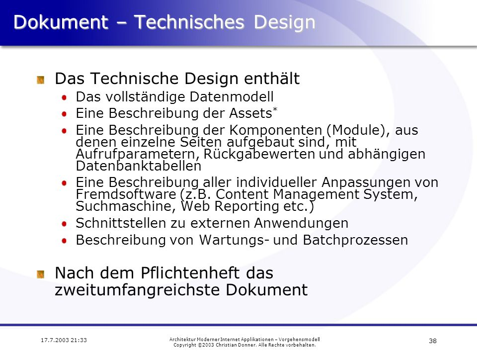 Dokument – Technisches Design