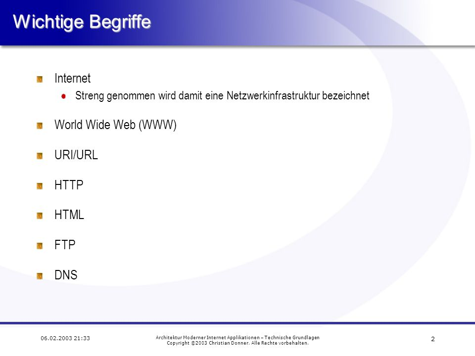 Wichtige Begriffe Internet World Wide Web (WWW) URI/URL HTTP HTML FTP