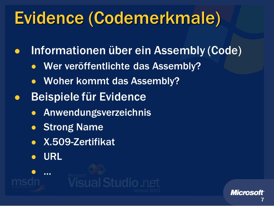 Evidence (Codemerkmale)