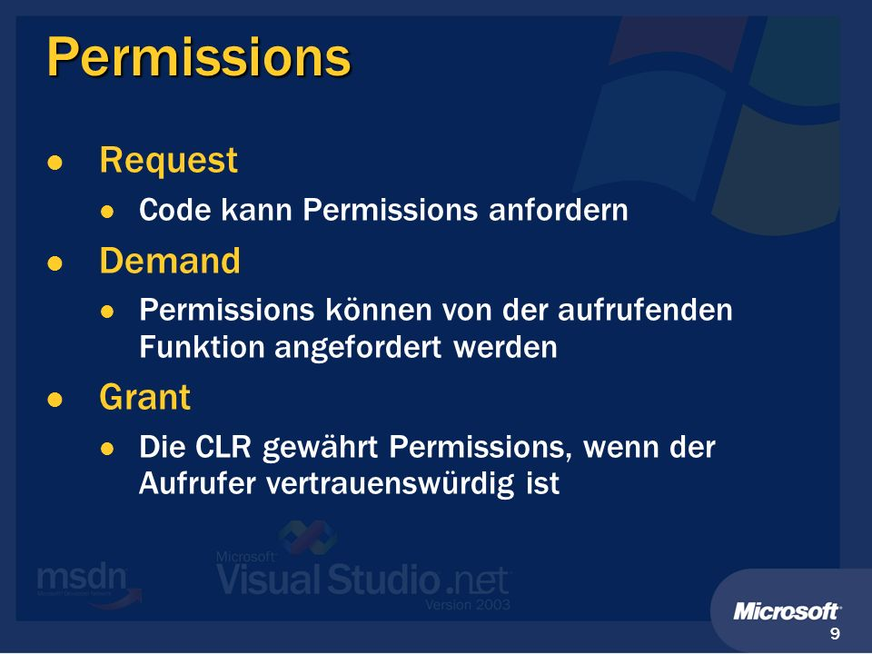 Permissions Request Demand Grant Code kann Permissions anfordern