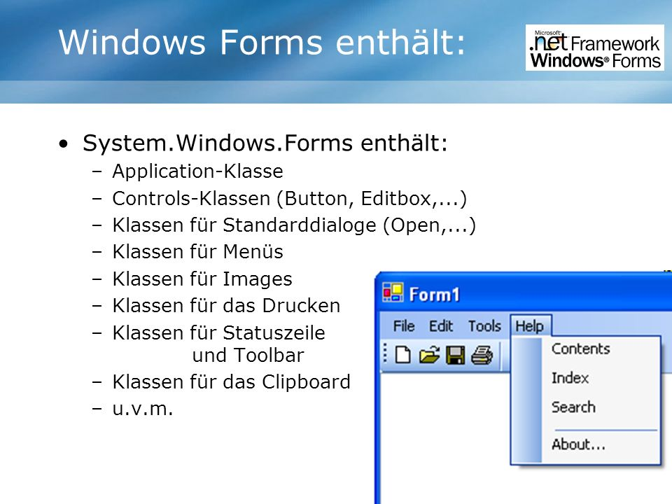 Windows Forms enthält: